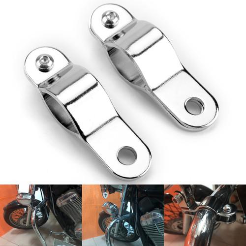 30-35mm Adjustable Bull Bar Light Foglight Mount Bracket Clamp Chrome