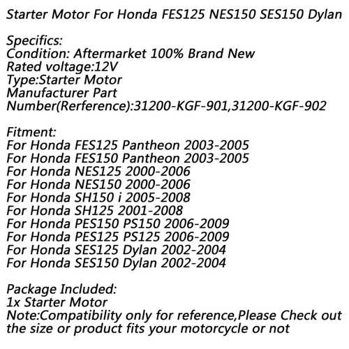 Electric Starter Motor for Honda FES125/150 Pantheon 03-05 NES125/150 00-06  Silver
