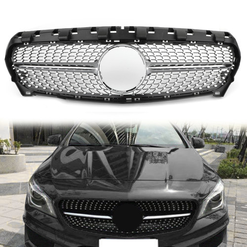 Front Diamond Star Grille For Benz W117 CLA Class 2013-2016 Silver