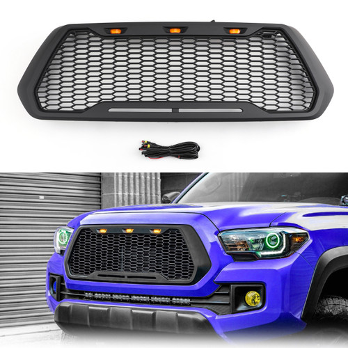 Raptor Style ABS Mesh Grille For Toyota Tacoma With 3 Amber LED Lights 2016-2019 Black