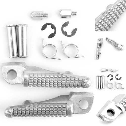 Front Foot Peg Footrest For Kawasaki ZX-10R 04-12 ZX-6R 03-11 Silver