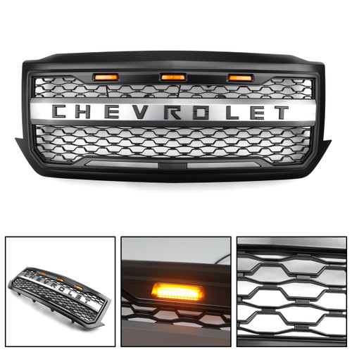 LED Front Bumper Grill For Chevrolet Silverado 1500 2016 2017 2018 Black