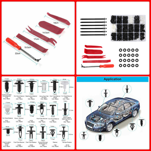 446PCS Fender Door Hood Bumper Trim Clips Body Retainer Assortment&Removal Tool
