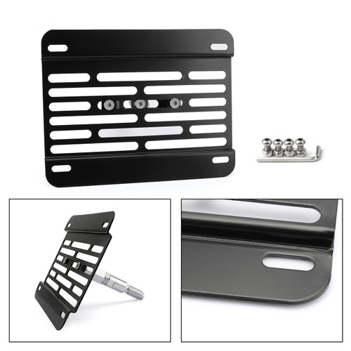 Universal Front Bumper Tow Hook License Plate Mounting Bracket Kit For Ford Black