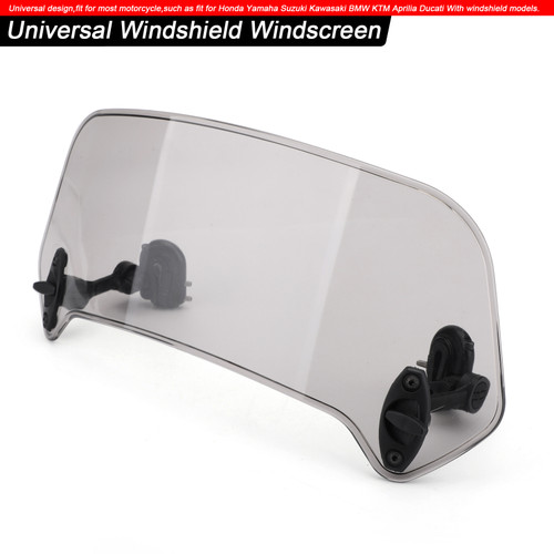 Adjustable Clip On Windshield Extension Spoiler Wind Deflector Smoke