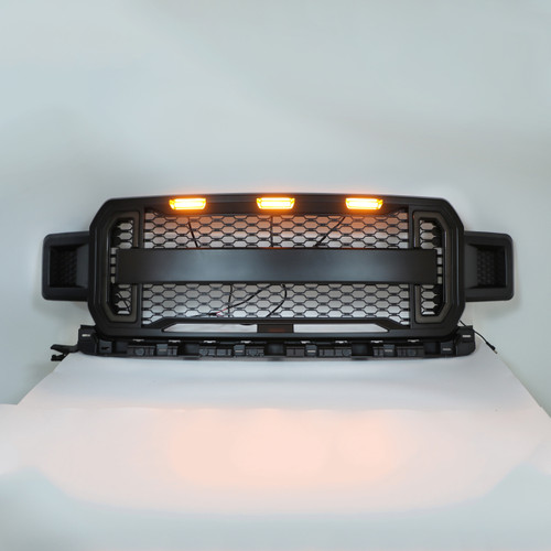Front Grill Grille With Amber Lights DRL For Ford F150 F-150 2018-2020