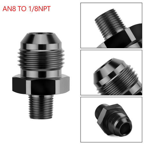 1PC AN8 TO 1/8NPT ORB-8 Straight Fuel Oil Air Hose Fitting Male Adapter Black
