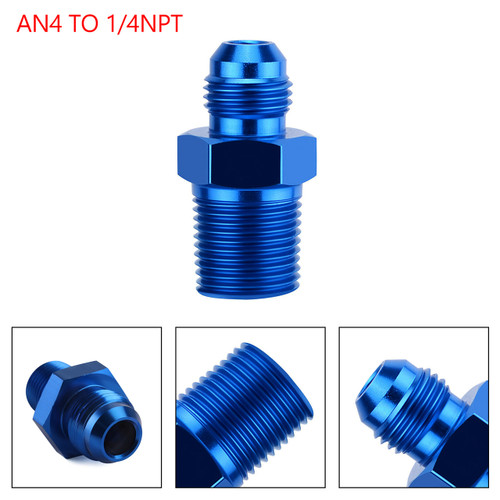 1PC AN4 TO 1/4NPT ORB-4 Straight Fuel Oil Air Hose Fitting Male Adapter Blue