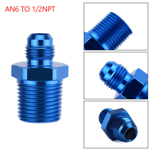 1PC AN6 TO 1/2NPT ORB-6 Straight Fuel Oil Air Hose Fitting Male Adapter Blue