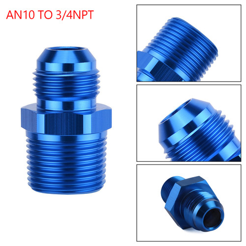 1PC AN10 TO 3/4NPT ORB-10 Straight Fuel Oil Air Hose Fitting Male Adapter Blue