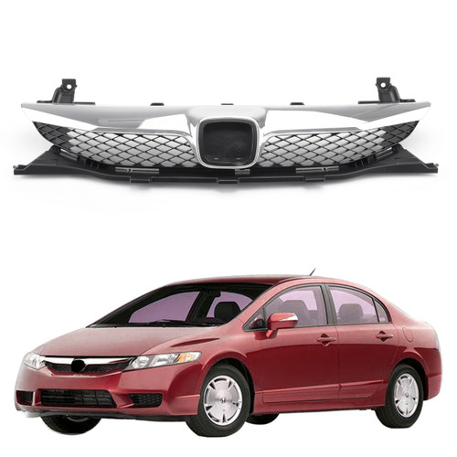 Front Top ABS Grille Grill Replacement For 2009-2011 Honda Civic Sedan 4 Door