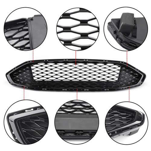 Front Bumper Grille Honeycomb Trim Gloss Grille For 2017-2018 Fusion Black