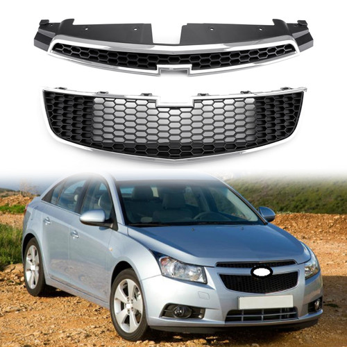 Front Upper + Lower Grille Full Grille Kit Cover Trim For Chevrolet Cruze 09-14