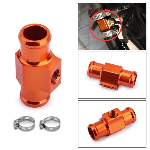 Water Temperature Joint Pipe Sensor Gauge Radiator Hose Adapter Kit Orange