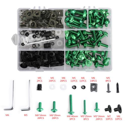 Fairing Bolt Kit Bodywork Screws for Kawasaki Concours 14 ER-6N GPz1100 Ninja 1000 300 500R 650R H2 ZX10R ZX11 ZX12R ZX14R ZX6R ZX7R ZX9R Versys 650 Zephyr 550 750 Green