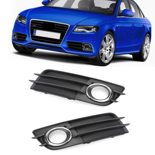 Pair Fog Light Grill Ring Bumper For Audi A4 S-LINE S4 08-12 Chrome