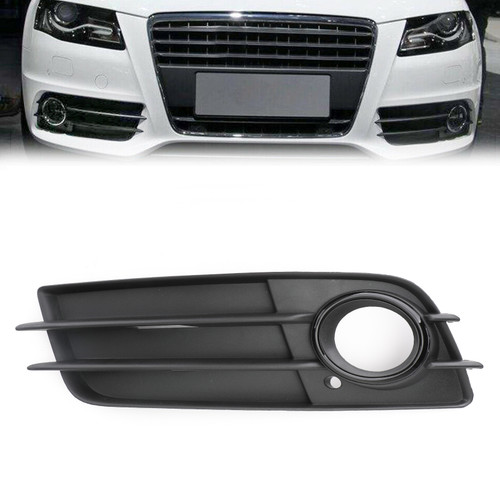 Left Side Matte Fog Light Grill S-Line Bumper For Audi A4 S-LINE S4 08-12 Black