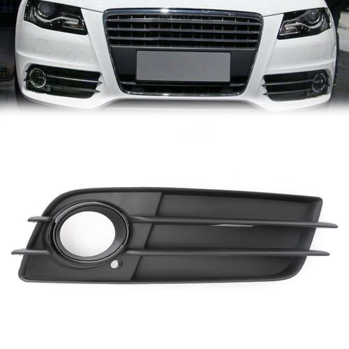 Right Matte Fog Light Grill S-Line Bumper For Audi A4 S-LINE S4 08-12 Black