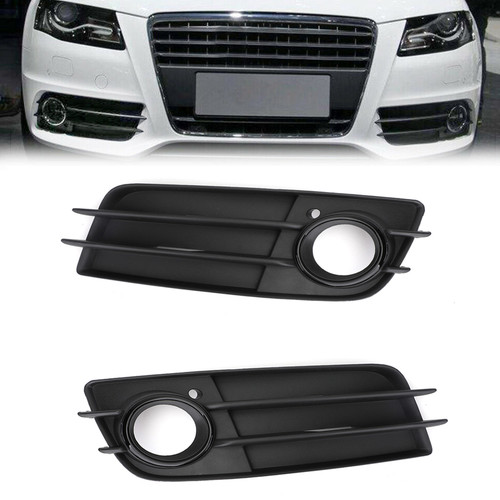 Pair Matte Front S-Line Bumper Fog Light Grille For Audi A4 S-LINE S4 08-12 Black