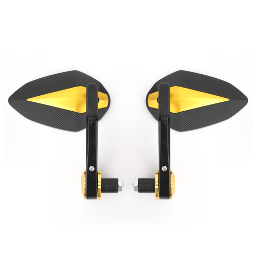 "7/8"" Handle Bar End Mirrors Universal Gold"