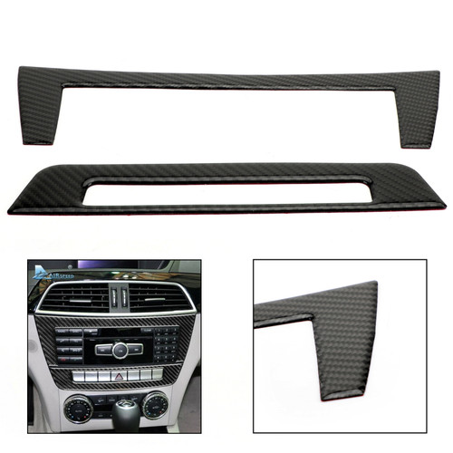 Fiber Center Console CD Panel Cover 2pcs For Benz C Class W204 11-13 Carbon