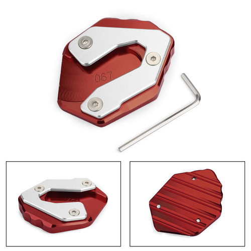 Kickstand Side Stand Enlarger Pad For Yamaha MT-09 Tracer FJ-09 15-17 MT-09 FZ-09 14-18 XSR900 16-17 Red