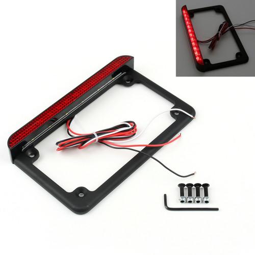 "6"" LED License Plate Frame With LED Tail Brake Light Universal Motorcycle Black"