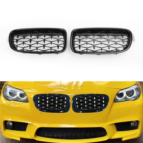 Front Kidney Gloss Black Diamond Grille Grills For BMW F30 328i 335i 12-16 Black