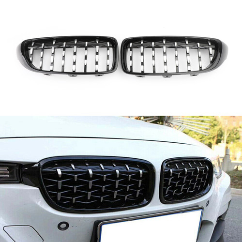 Diamond Front Upper Grille For BMW 4 Sereis F32 F33 F36 F82 M4 All Models 14-18 HChrome