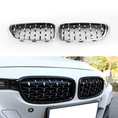 Pair Chrome Diamond Front Upper Grille For BMW 4 Sereis F32 F33 F36 F82 M4 All Models 14-18 Chrome