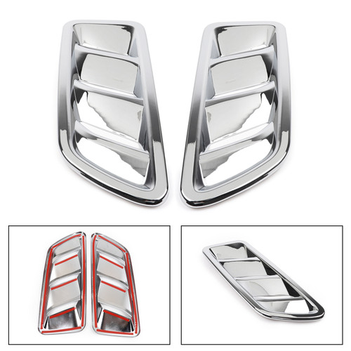 Hood Engine Air Vent Outlet Cover Trim 2PCS For Wrangler JL 18-19 Chrome