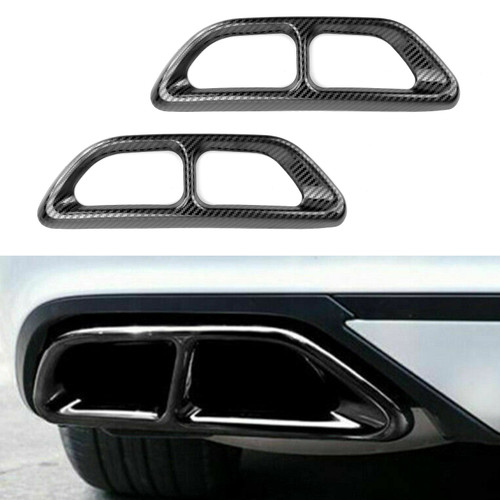 Fiber Steel Rear Cylinder Exhaust Pipe Cover 2pcs For Honda Accord 18-19 Carbon