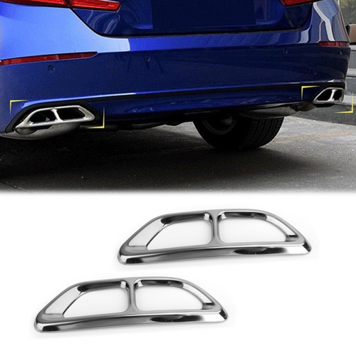 Steel Rear Cylinder Exhaust Pipe Cover For Honda Accord 18-19 Silver