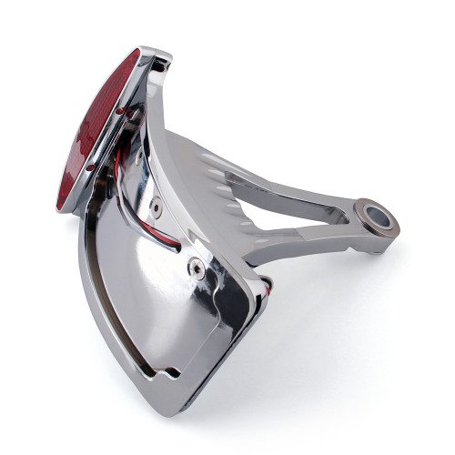 "Side Axle Mount Chrome Billet License Plate Bracket Taillight Led, Universal Fit 1"" & 3/4"" Axle, Vertical Curved"