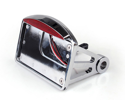 "Side Mount Chrome License Plate LED Tail brake light For Harley Davidson and Custom Bikes with 1"" Rear Axle"