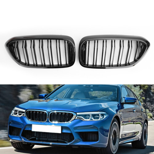 Gloss Kidney Grille Grill For BMW 5Series G30 G31 Sedan 17-19 Glossy Black