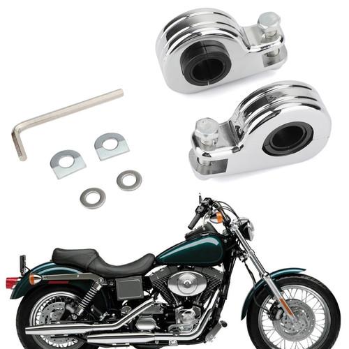 """1.25"""" 32mm Engine Crash Bar Highway Foot Peg Mount Clamp Bracket For Harley models with 21mm/24mm/32mm Engine guard or frame tube Chrome"""
