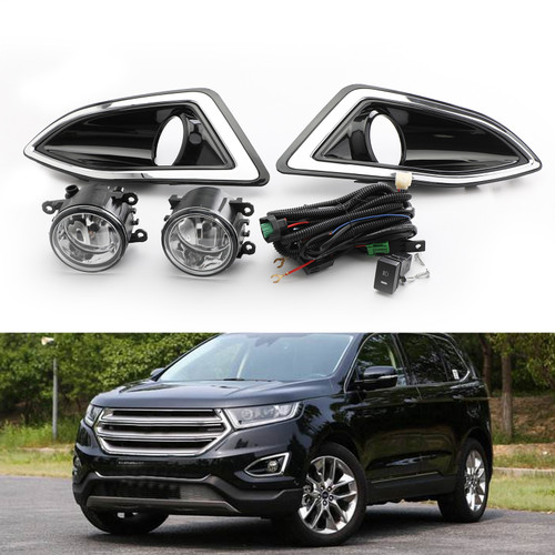 Front Bumper Fog Lights Lamps Harness Switch Kit For Ford Edge 15-18 Black