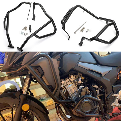 Upper + Lower Crash Bars Engine Guard Set For Honda CB500X 2019 Black