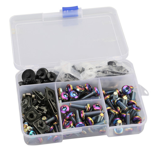 173pcs Burnt Titanium Fastener Clip Screw Kit Windscreen Fairing Bolt Universal