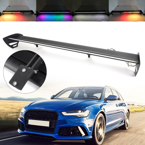 Hatch Adjustable Aluminum Rear Trunk Wing Racing Spoiler With LED Universal For most of Hatchback Cars with a rear trunk Black