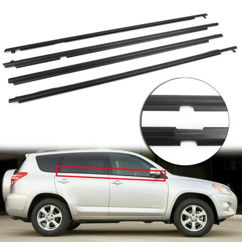 4PCS Door Auto Window Trim Moulding Belt Weatherstrip For Toyota RAV4 09-12 Black