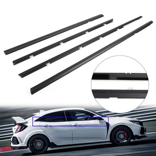 4pcs Weatherstrip Window Moulding Trim Seal Belt For Honda Civic 12-15 Black