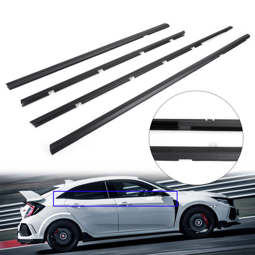 4pcs Weatherstrip Window Moulding Trim Seal Belt For Honda Civic 12-15 Black