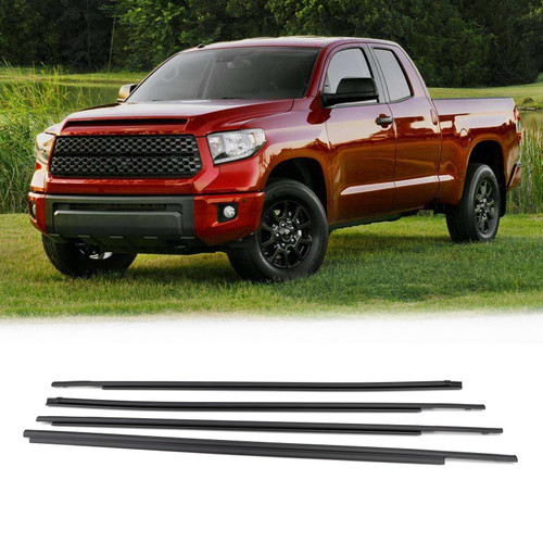 Window Moulding Weatherstrip Seal Belt For Toyota Tundra CrewMax 07-19 Black
