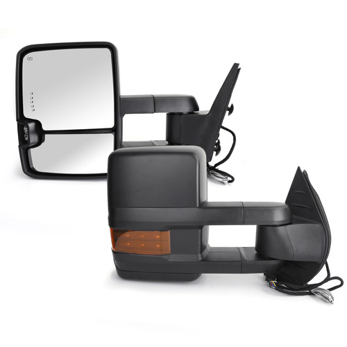 Amber LED Signal Power+Heated Towing Mirrors For Chevy Silverado 1500 models only GMC Sierra 1500 models