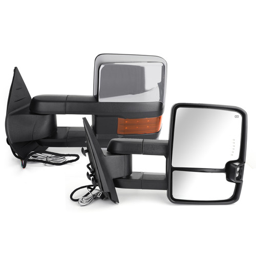 Amber LED Signal Power+Heated Towing Mirrors For Chevy Silverado 1500 models only GMC Sierra 1500 models only Chevy Avalanche models only 07-13 Chrome