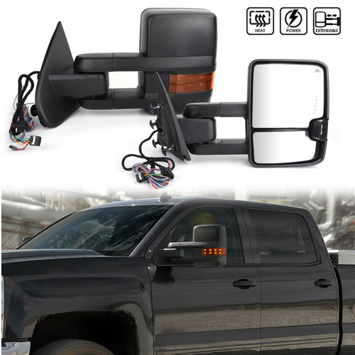 Power Heated Extending Towing View Mirror Signal For CHEVY SILVERADO 2500 3500 MODELS ONLY GMC SIERRA 2500 3500 MODELS ONLY 15-18 Black