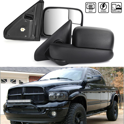 Power Heated Towing Side Mirrors Pair Set For 1500 Pickup Truck 02-08 2500 Pickup Truck 03-09 3500 Pickup Truck 03-10 Black