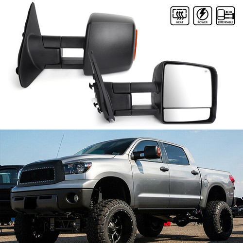 Power Heated LED Signal Side Mirrors Pair For Toyota Tundra models only 07-17 Sequoia models only 08-17 Black
